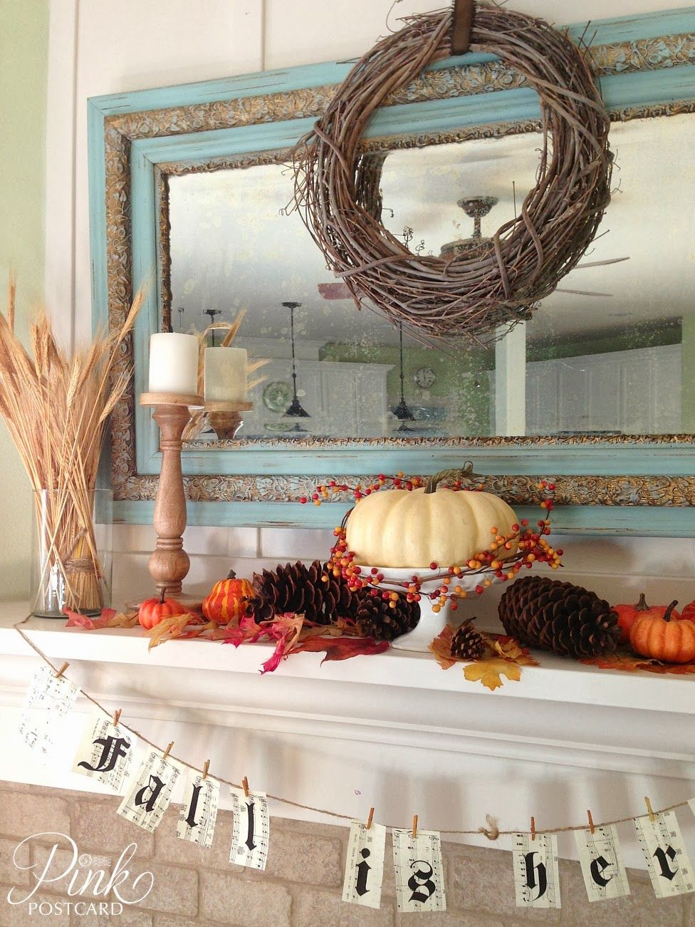 Get inspired to switch out your mantel decor for the Fall season with this collection of amazing Fall mantel decorating ideas. & Pink Postcard*: simple fall mantel- fall decor | fireplace ...
