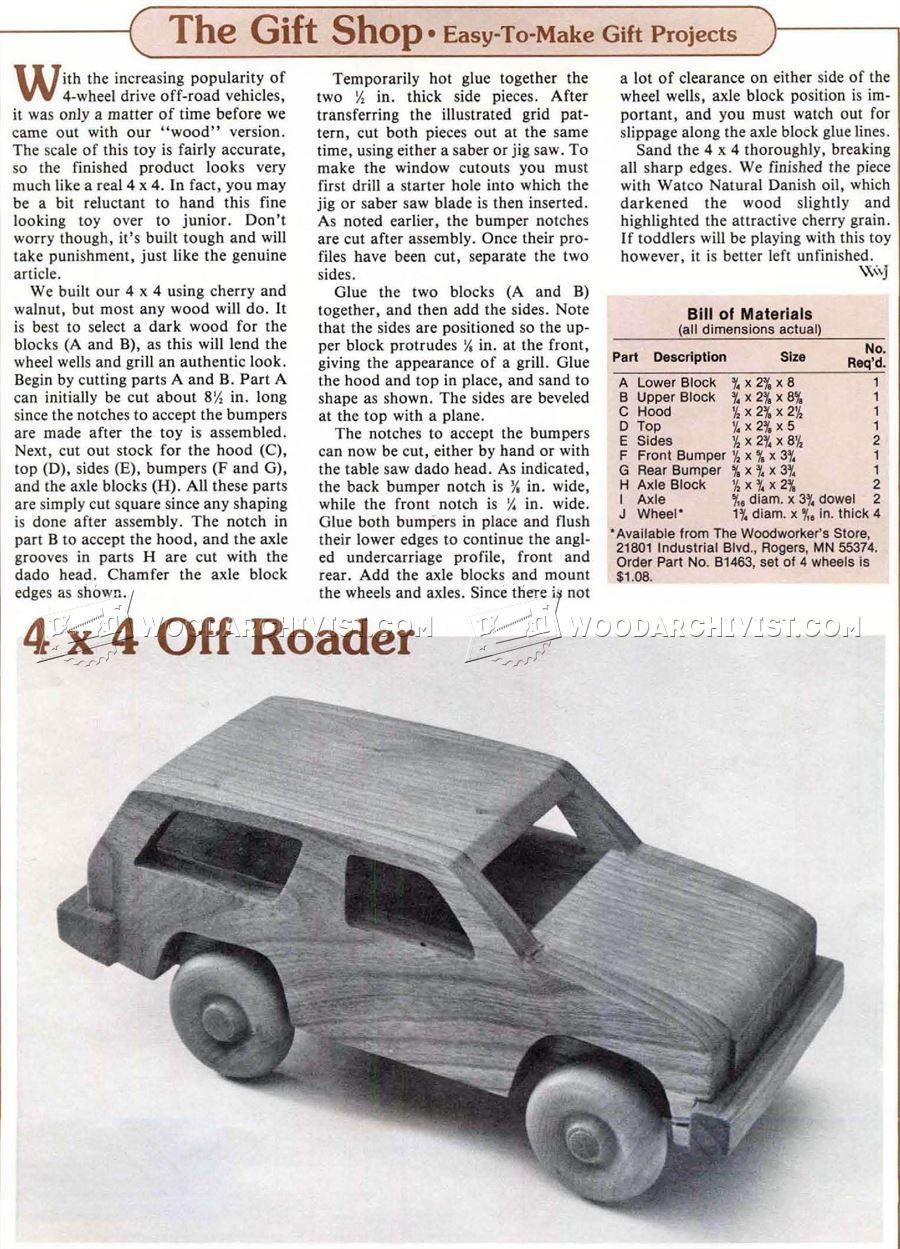 1118 Wooden 4х4 Off Roader Plan - Children\'s Wooden Toy Plans and ...