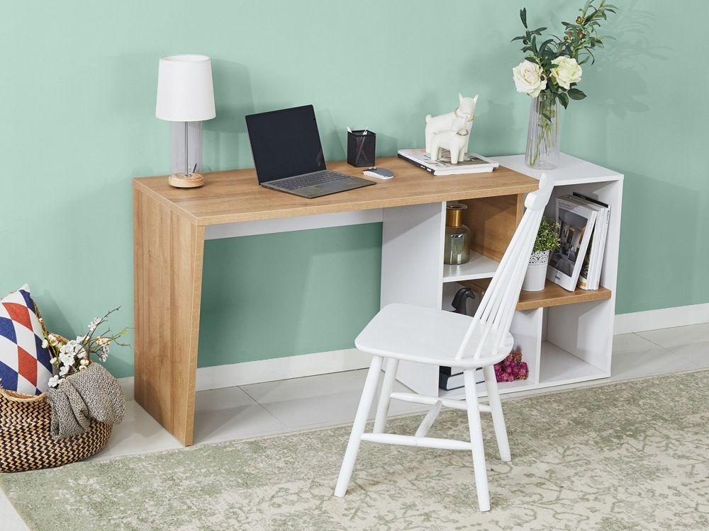 Flynn 170cm Computer Desk Oak Oak Desk Bookshelf Design Desk