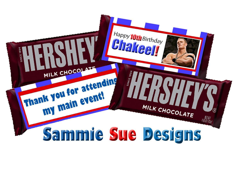 Wwe Birthday Hershey Bar Candy Wrapper By Sammiesuedesigns