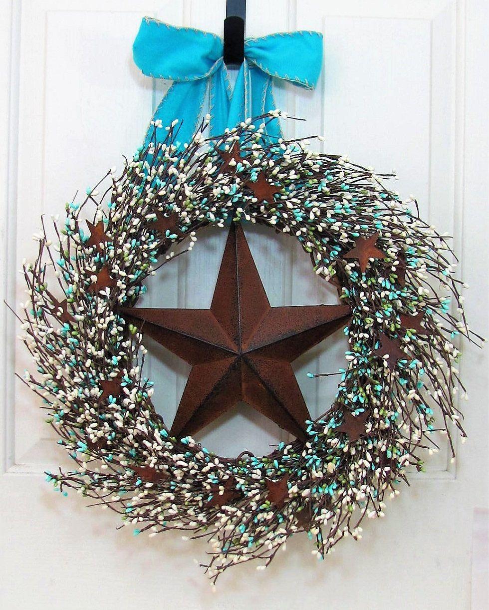 Beach Wreath Rusty Star Berry Wreaths Teal Blue Pip Fall Home Decor Farmhouse Texas By Designawreath On