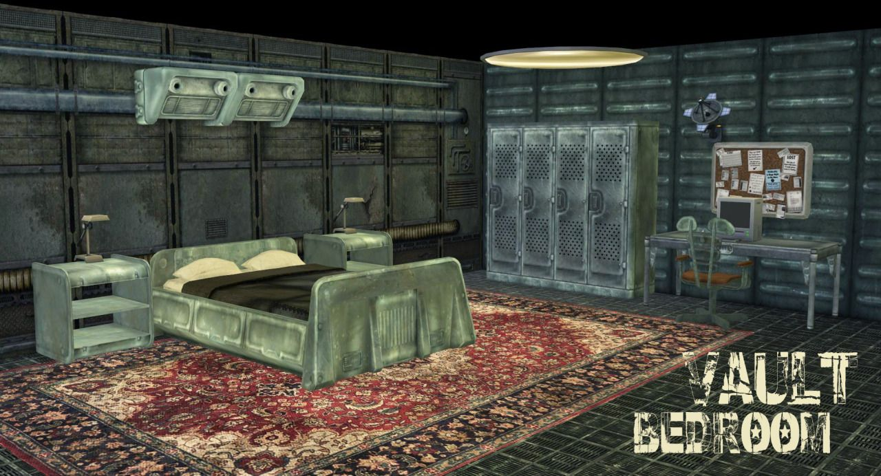 Fallout 3 vault bedroom conversion for ts4 fallout for Fallout 4 interior decorating