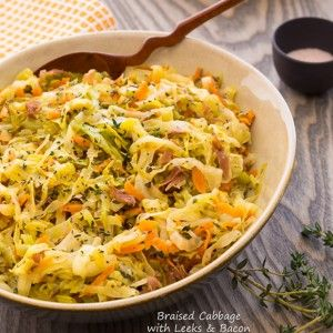 Braised-Cabbage-with-Leeks-and-Bacon