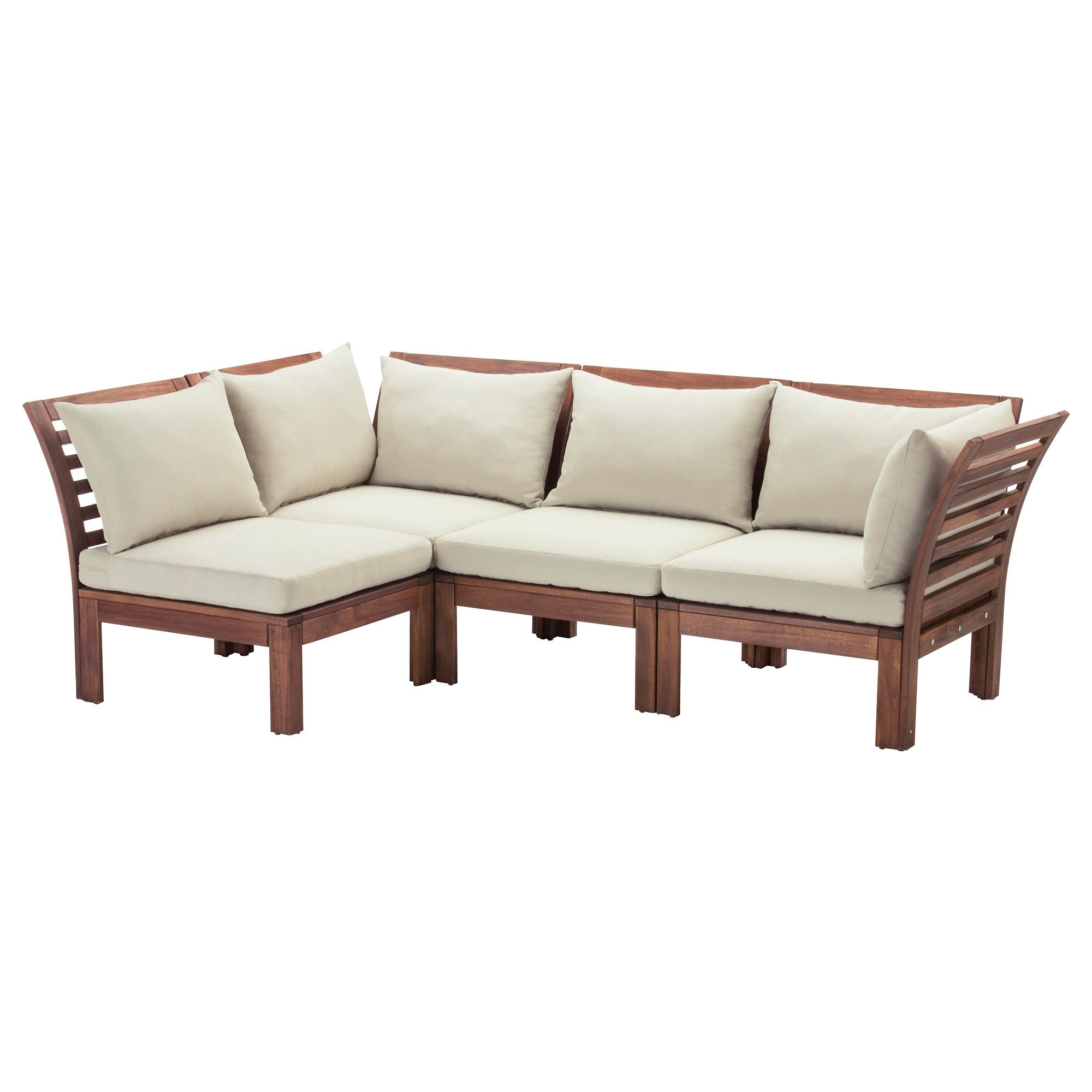 ÄPPLARÖ 4-seat sectional, outdoor, brown brown stained, Hållö beige ...
