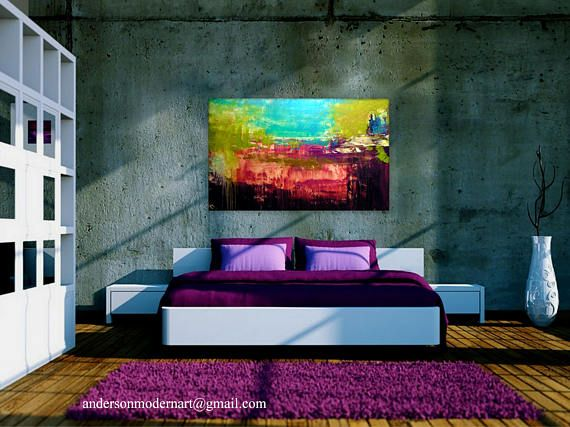 Large Canvas Wall Art Abstract Textured Painting Contemporary Office ...