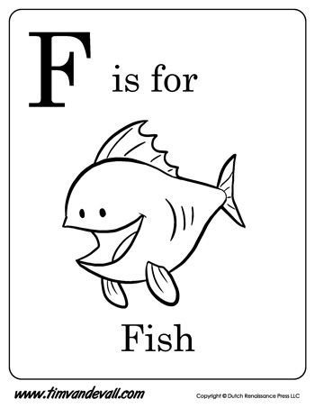F is for Fish Letter F Coloring Page Alphabet Book - Black - new dltk coloring pages alphabet
