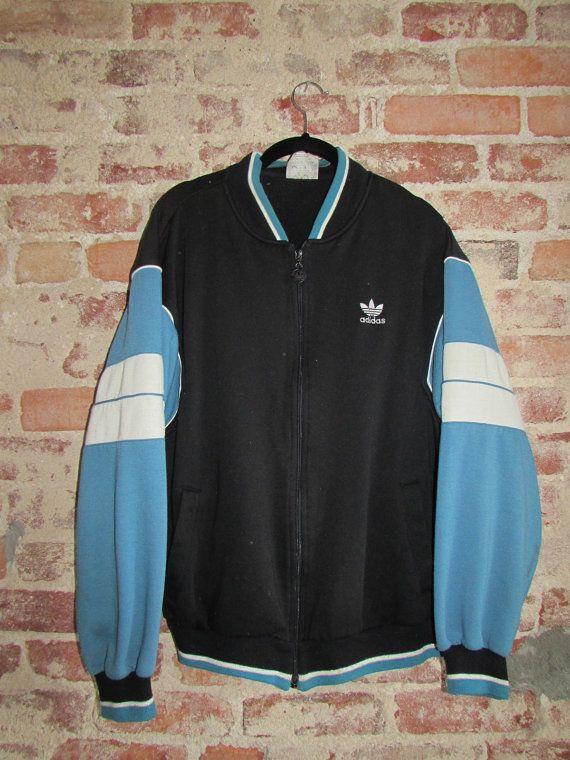 Vintage 80's Adidas Silver Label Blue Black White Track Jacket by RackRaidersVintage, $30.00