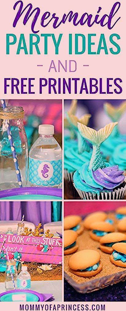 Photo of Mermaid Party Printables and Birthday Party Decor and Ideas