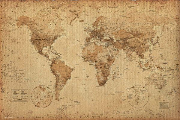 Antique style world map poster print size 36 x 24 sepia antique style world map poster print size 36 x 24 sepia brown gumiabroncs Gallery