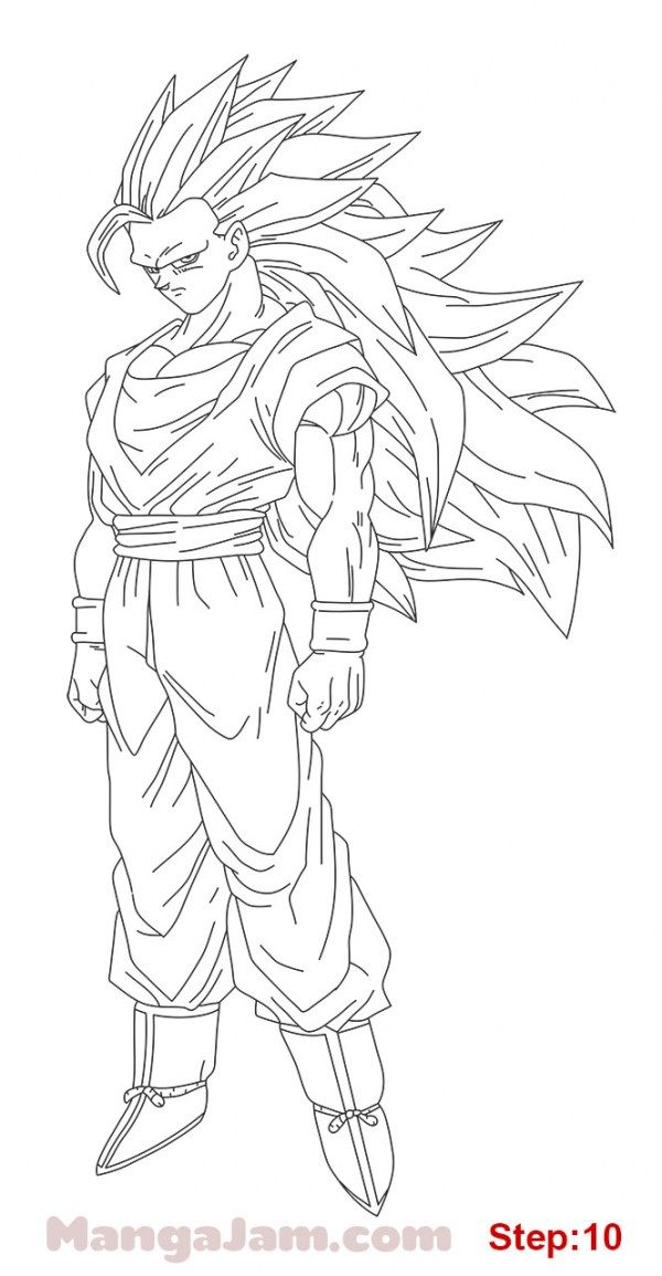 How To Draw Super Saiyan 3 From Dragon Ball Step 10 Dragon