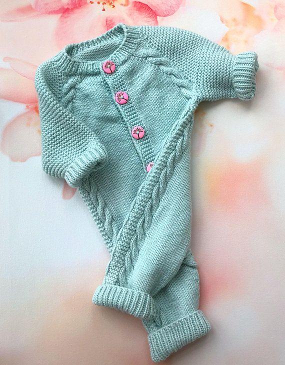 77334daaf30 Wool knit onesie Baby girl bodysuit Knit romper girl Baby knit jumpsuit  Baby girl newborn clothes Ba