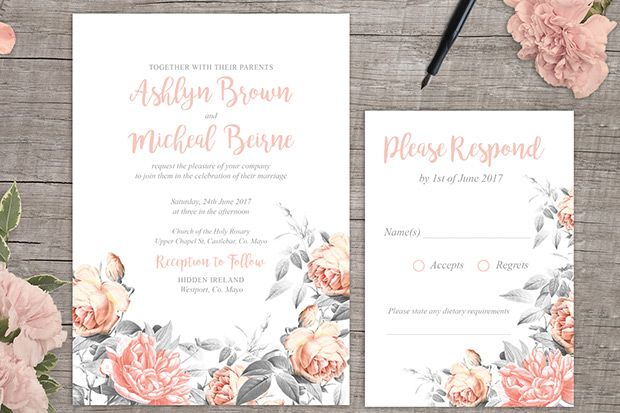 Rosa romance free floral wedding invitation printable from amazing free wedding invitations and rsvp cards are just one click way because appleberry press have stopboris Choice Image