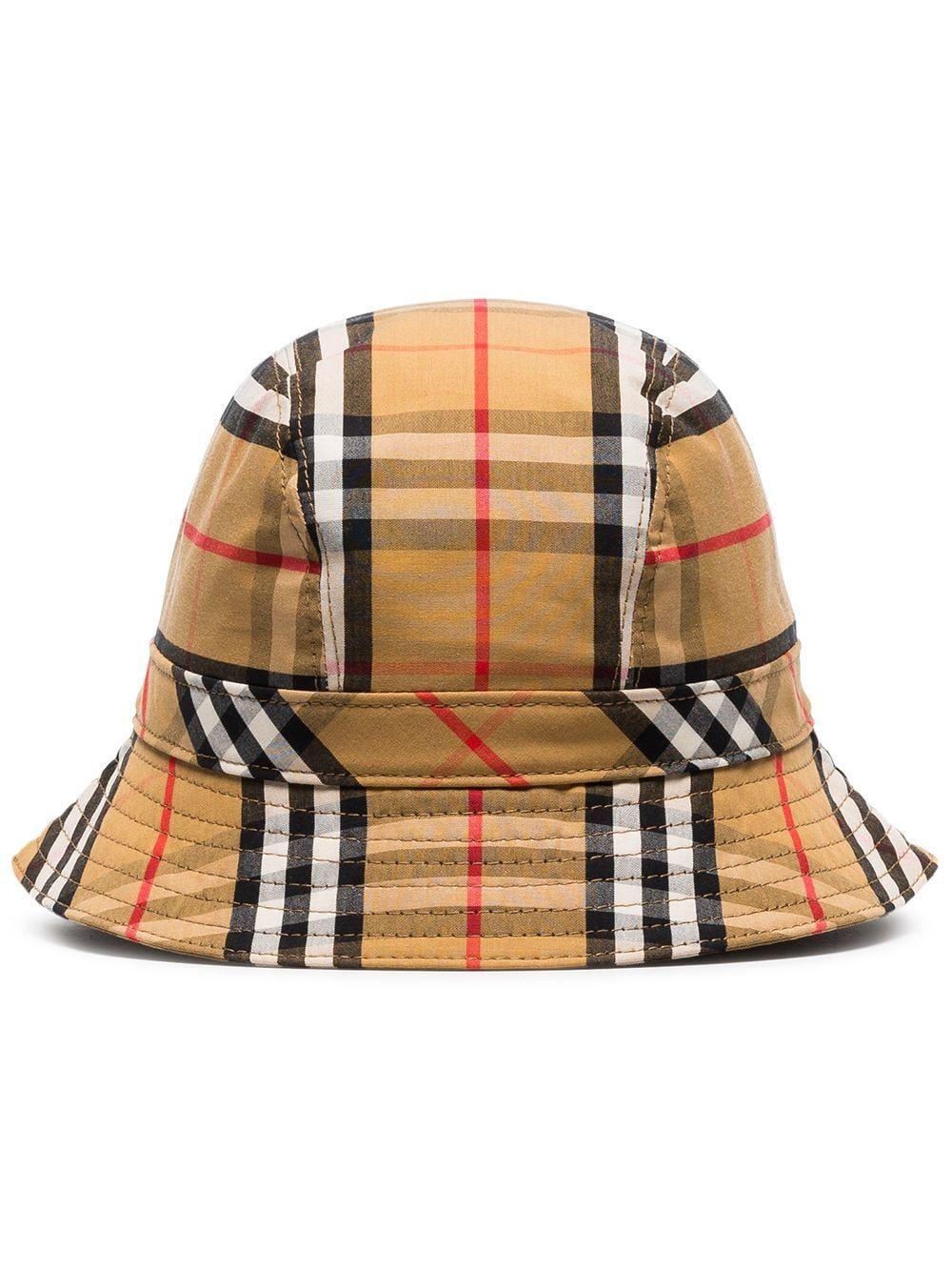 10724ecd9d1 BURBERRY BURBERRY MULTICOLOURED VINTAGE CHECK COTTON BUCKET HAT - BROWN.   burberry