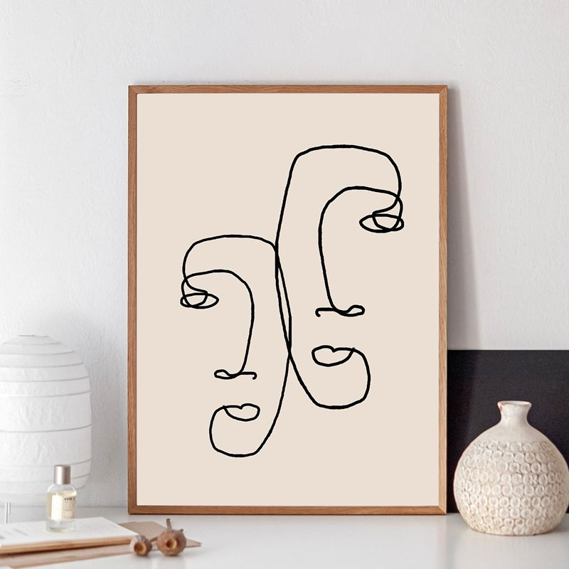 Abstract one line couple face drawing print minimalist