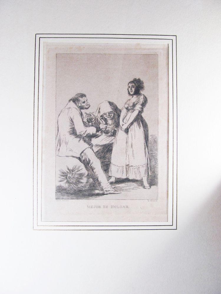 """Antique Etching """"Mejor es Holgar"""" by Goya SEGUI EDITON  #Modernism"""