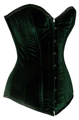 I LOVE IT I LOVE IT I LOVE IT -  Sturdy Steel Boned Extra Long Green Velvet Overbust Corset Tight Lacing EB-9051 | eBay  $49.99