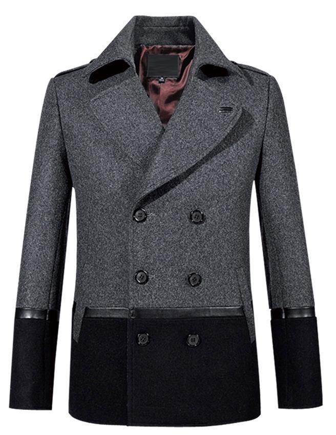 Amazing Grey Black Modern Pea Coat. http://www.58soufun.com/mens ...