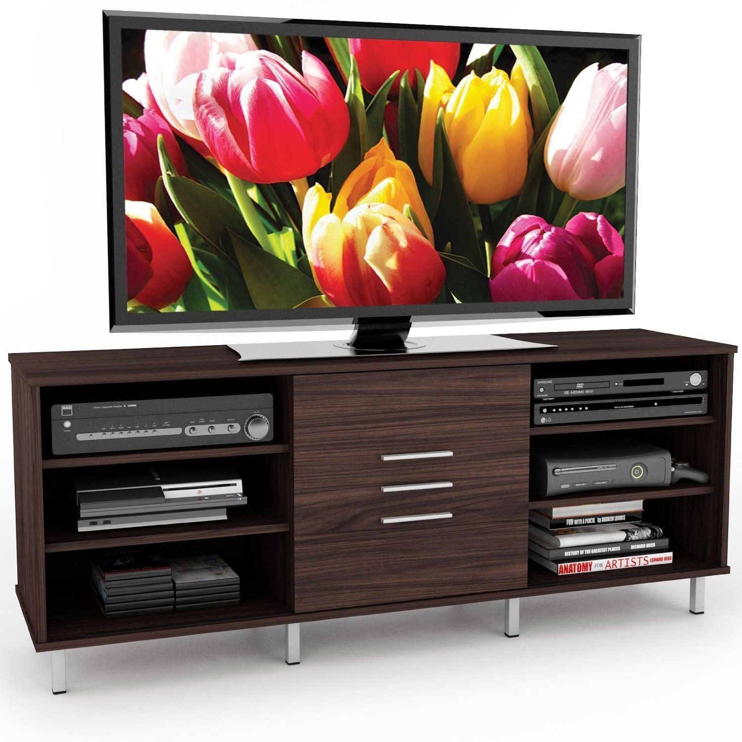 Modern Ebony Pecan Finish Tv Stand Fits Up To 65 Inch Tvs
