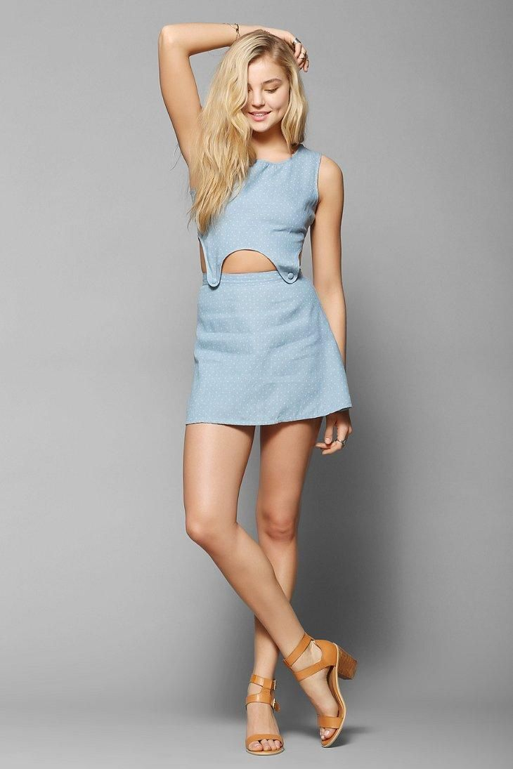 Afends Button Cutout Waist Chambray Dress #urbanoutfitters