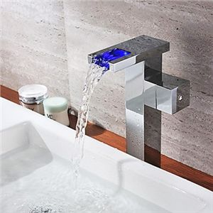 Chrome Single Color Changing Led Waterfall Bathroom Sink Faucet Tall Mixer Tap Bathroom Sink Faucets Bathroom Sink Taps Sink Faucets