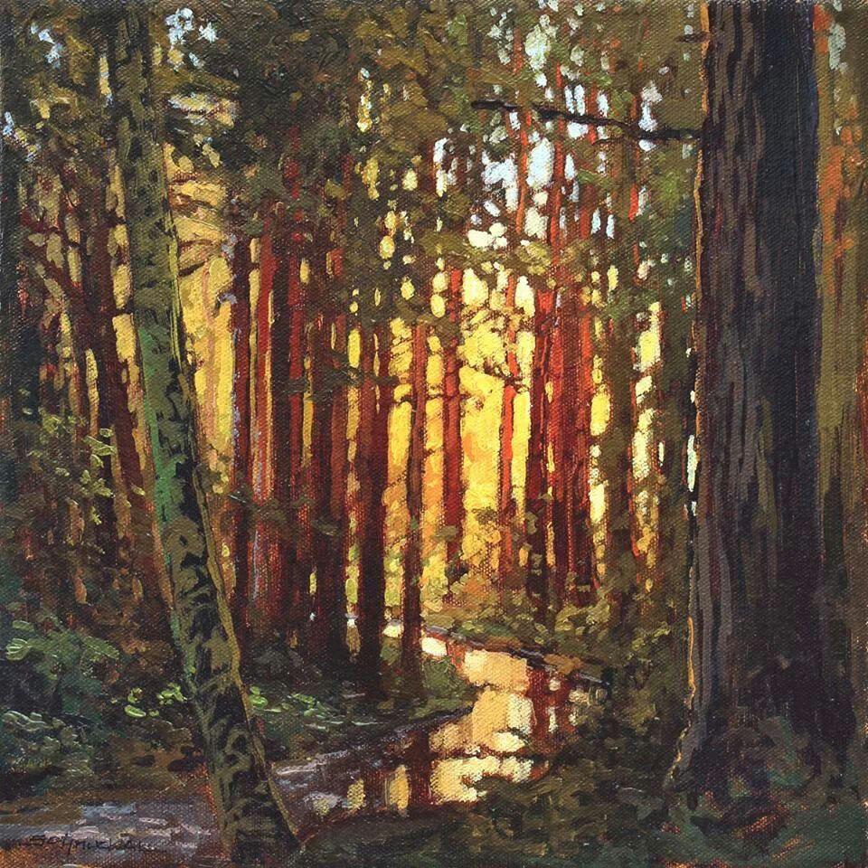 "Jan Schmuckal - Streaming Through - 12""x 12"" - Original Oil - Grove Park Inn Arts & Crafts Conference - Asheville, NC"