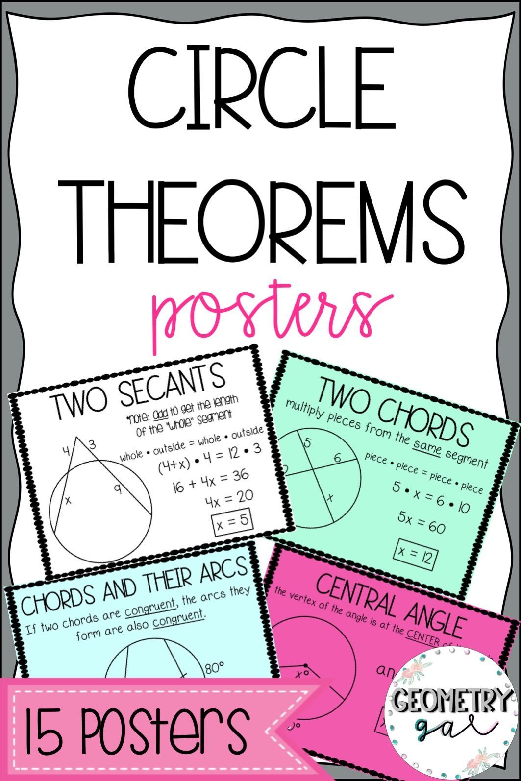 Circle Theorems Posters Geometry Word Wall