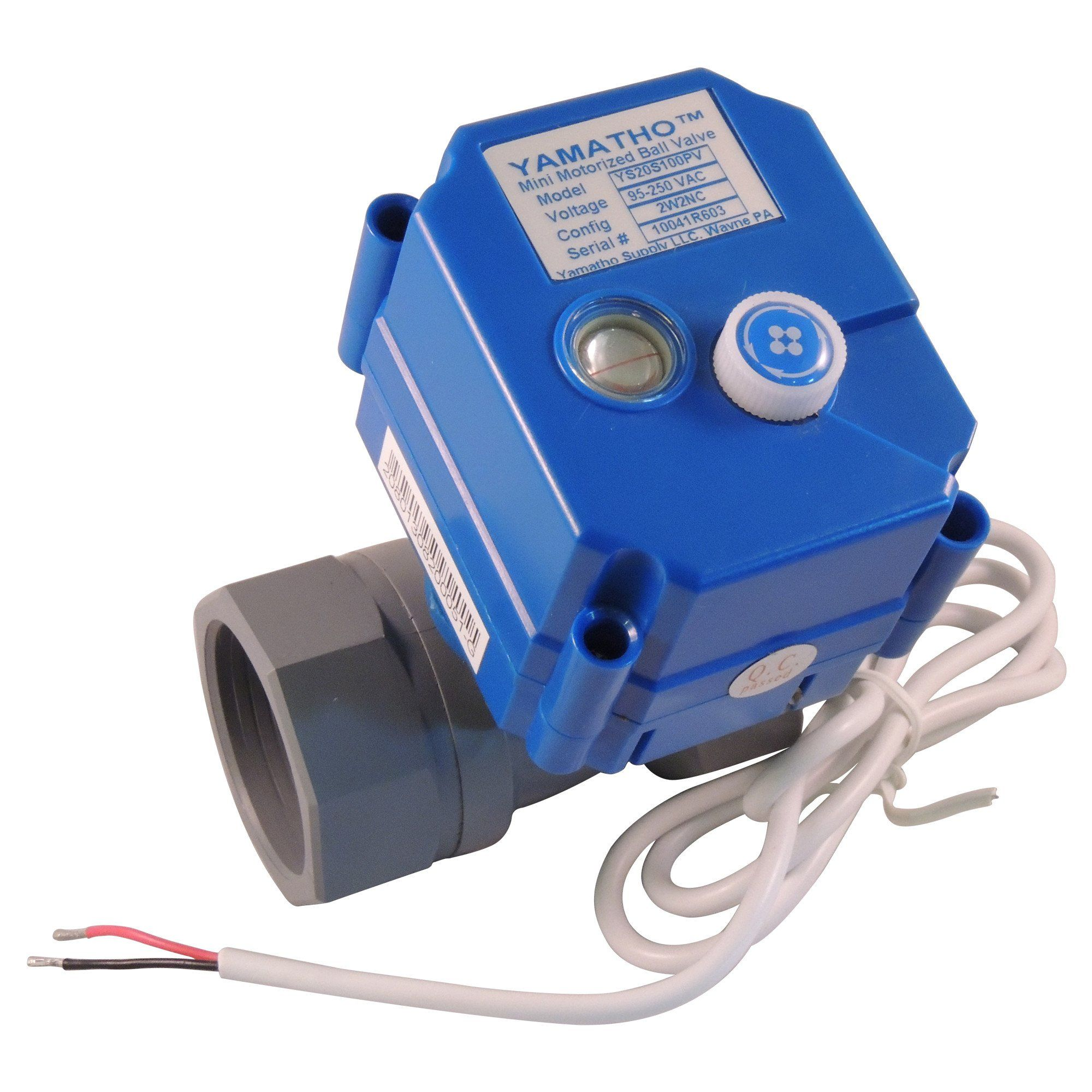 """Electric ball valve YS20S 1"""" PVC Socket ANSI, NC valve with 2 wires actuator"""