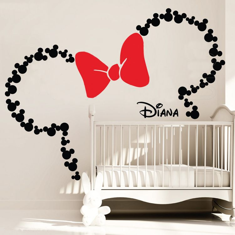 Wall decals MICKEY MOUSE inspired ears & Personalized Baby Surface ...
