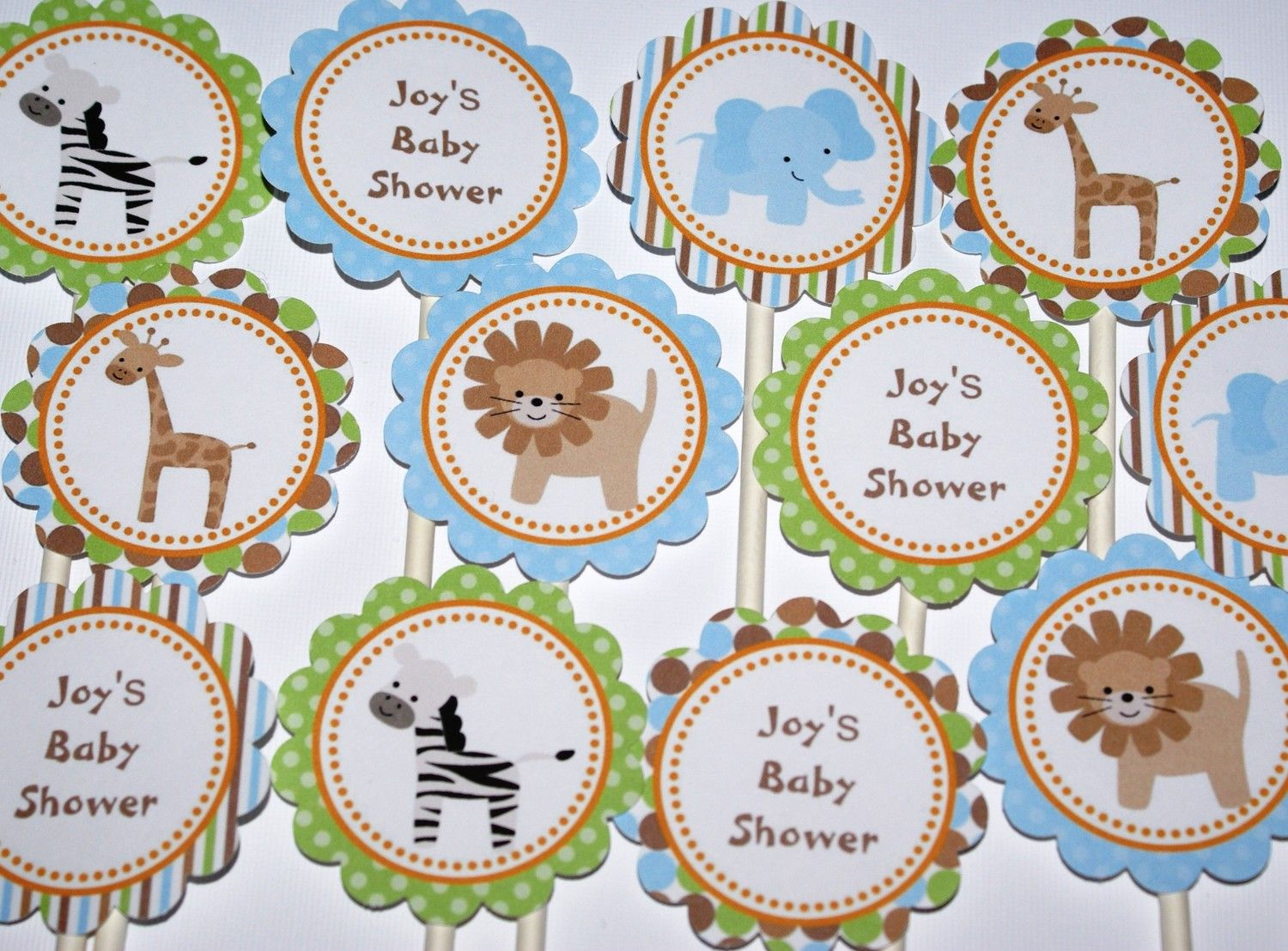 animal theme baby shower cupcake toppers 12 via etsy baby