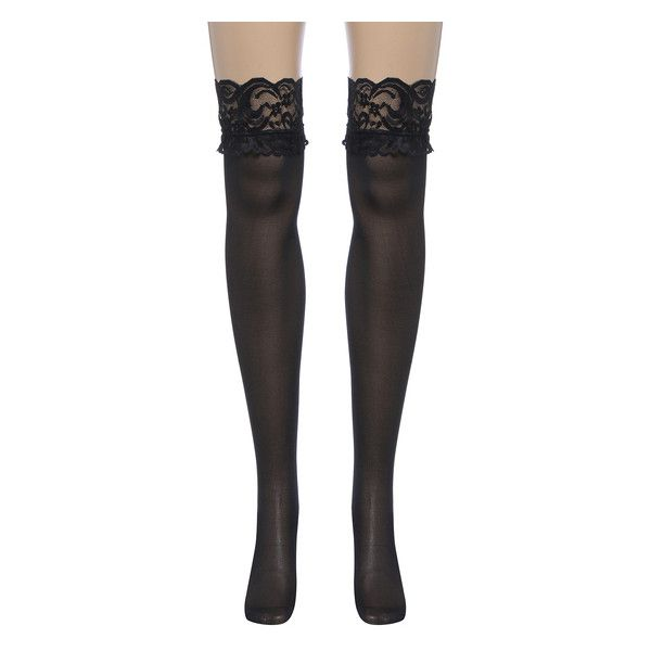 710bde409 Black Lace Top Thigh High Stockings Nightclubs Pantyhose (12 BRL) ❤ liked  on Polyvore