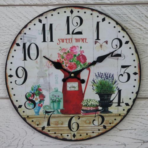 Sweet home with flowers wooden clock.