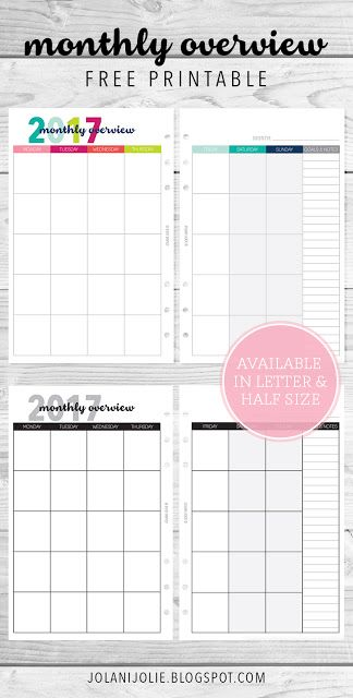 Free Printable Monthly Overview Planner Printable  Jolani Jolie