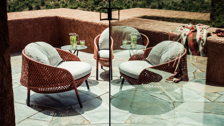 Dedon Ahnda Armchairs Mangrove Side Table Lounge Chair Outdoor Dedon Outdoor Chairs