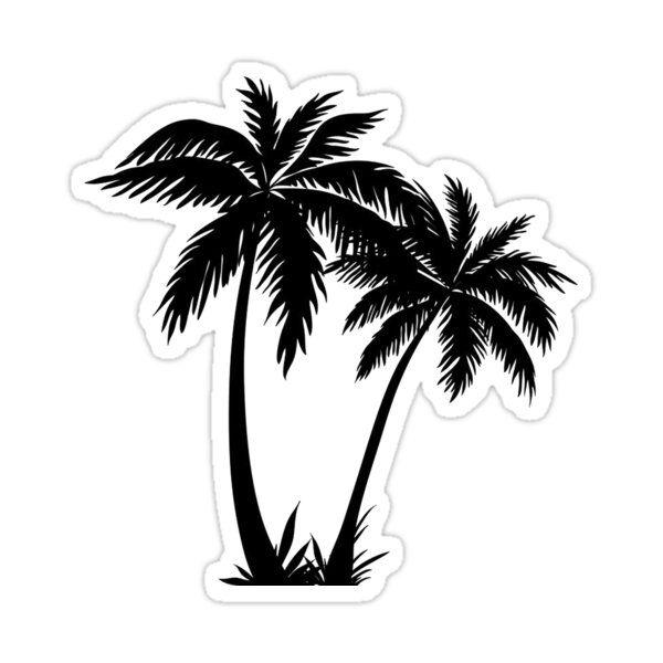 Black Palm Tree Sticker Sticker By Livpaigedesigns In 2021 Palm Tree Clip Art Palm Tree Sticker Palm Tree Drawing