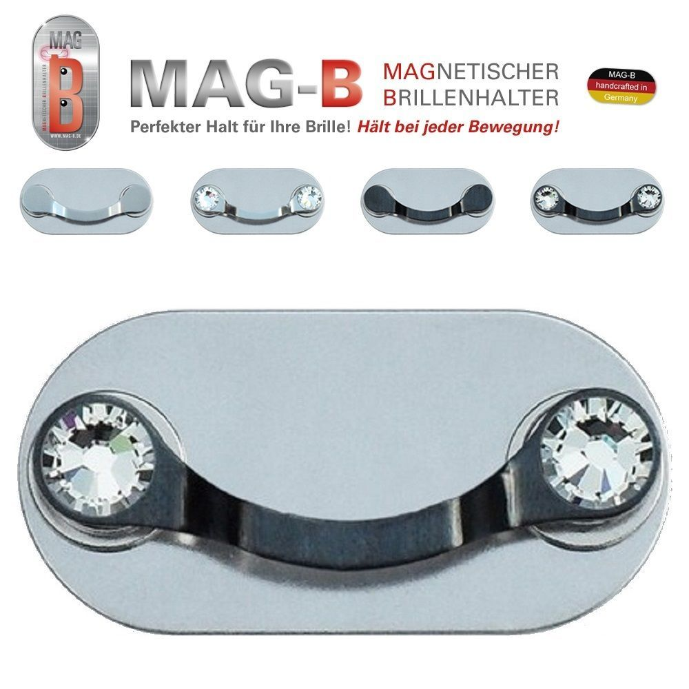 MAG-B magnetischer Brillenhalter (Edelstahl schwarz mit Swarovski Kristallen)