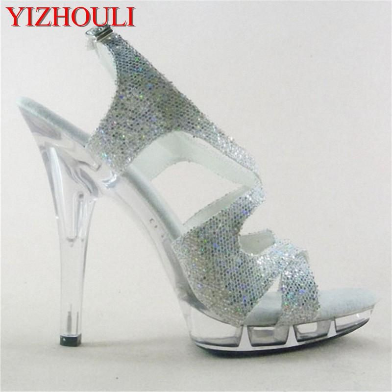 15cm Colorful Sexy High-Heeled Shoes Crystal Sandals Shoes 6 Inch Stiletto  High Heels Clear Platforms Silver Glitter Sexy Shoes. ffce5ea645d9
