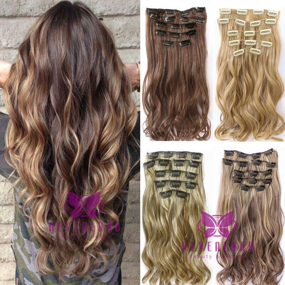 7 Stks Set Clip In Haarverlenging 22 Inch Lange Krullend Golvend