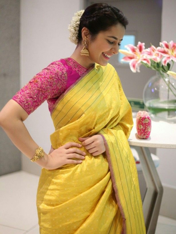 7c0903624ae83 Rashi Khanna in Saree – Classy Indian Looks