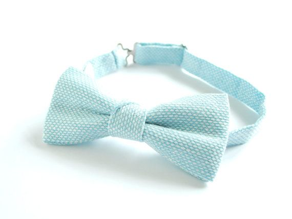 Sky Blue and White Linen pre tied adjustable men's/ by Adatele, $25.00
