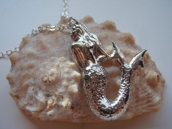 Mermaid Necklace Silver by MadisonHoneyVintage on Etsy, $18.00