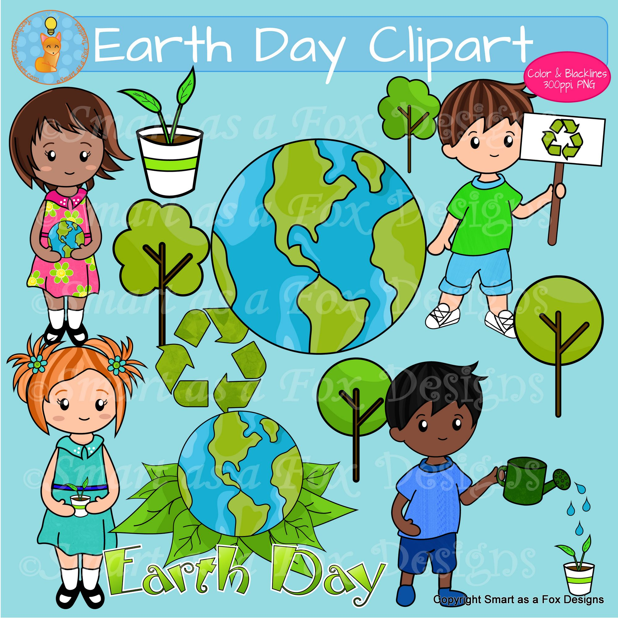 Earth Day Clipart With Plants Trees Recycling Clip Art Fox