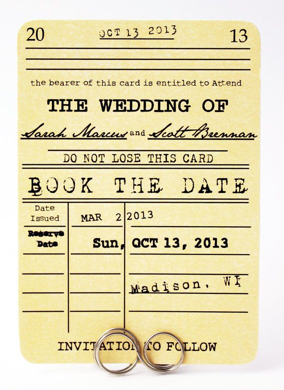 this adorable book the date card is the prefect beginning to invite your guests to save the date for your literary themed wedding party or