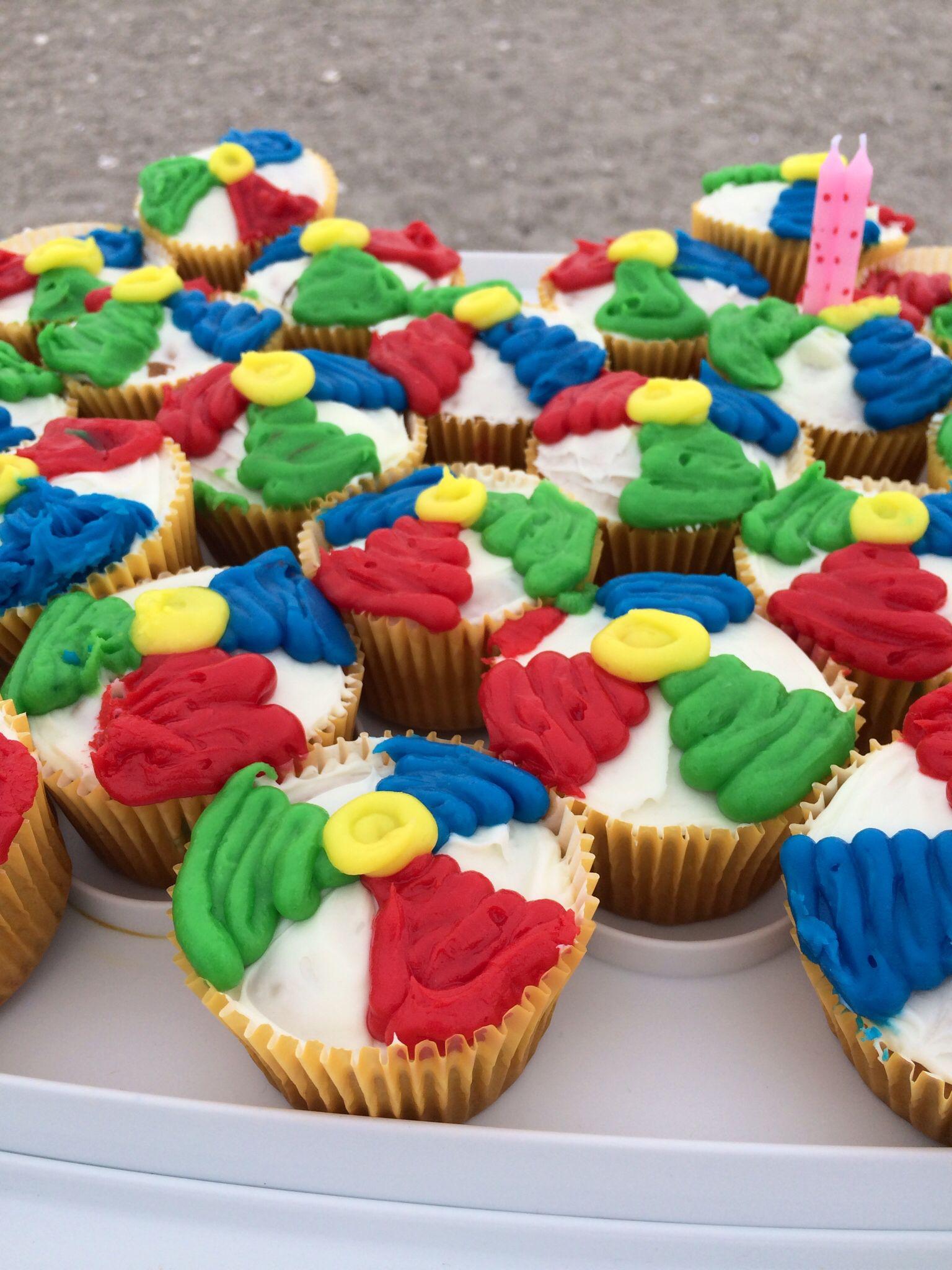 Beach Ball Cupcakes Simple Baking Funfetti Cake Red Green Blue