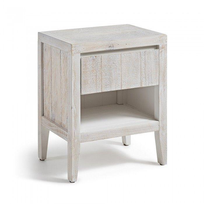Table de chevet fabriquée avec du bois de pin récupéré Finition - Peindre Table De Chevet