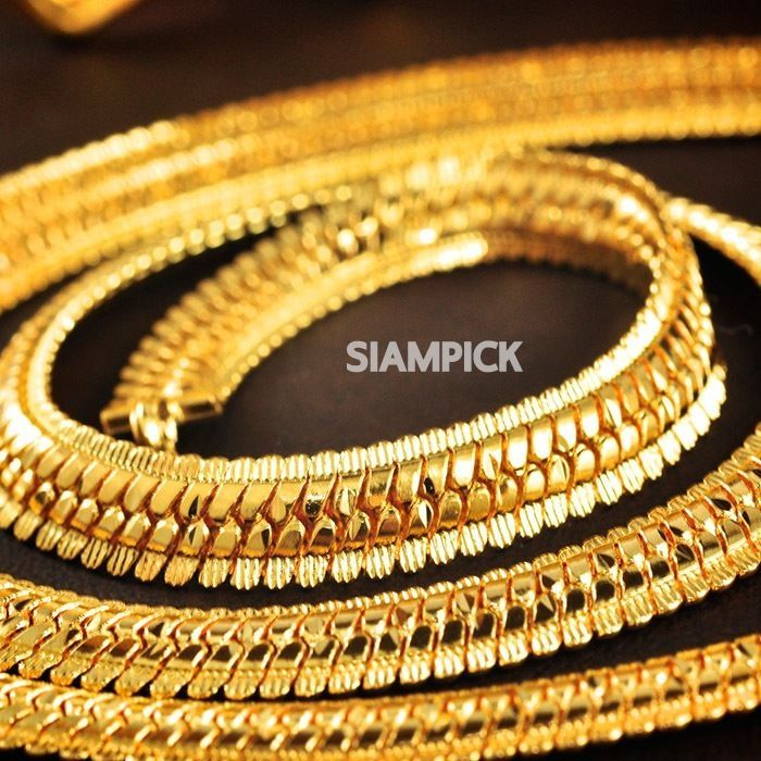 24 inch 22K 24K Thai Baht Yellow Gold GP Flat Chain Necklace Clasp ...