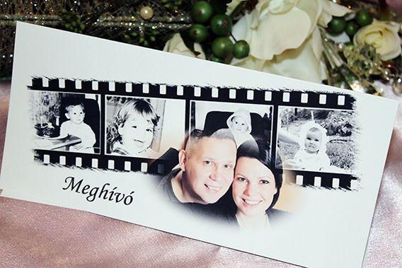 invito matrimoniale a forma di pellicola cinematografica con quattro fotogrammi