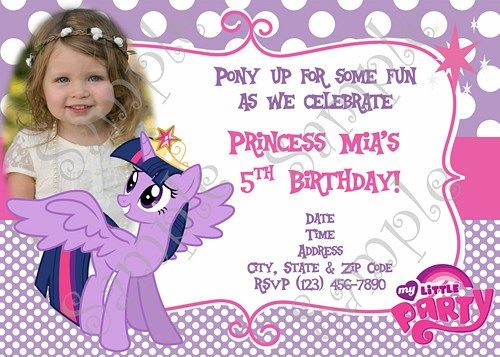 My Little Pony Birthday Invitation, My little Pony Thank you card