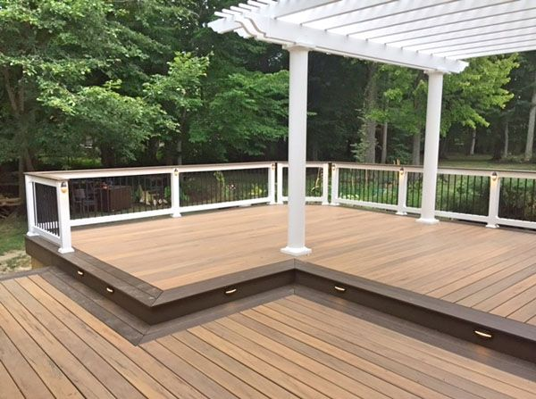 Timbertech deck vinyl rail deckorators balusters low volt lighting vinyl pergola massillon ohio