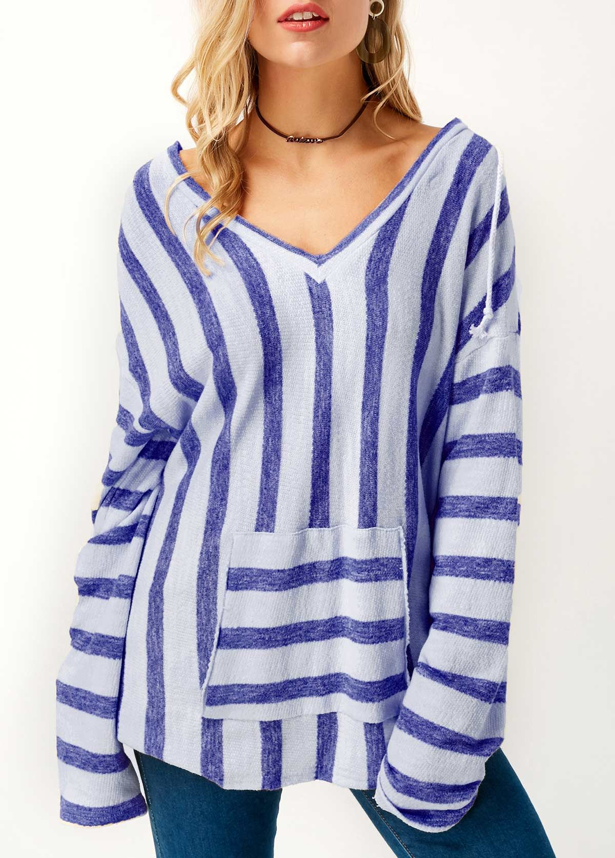 Long Sleeve Striped Hooded Collar Blue T Shirt Stuff To Buy