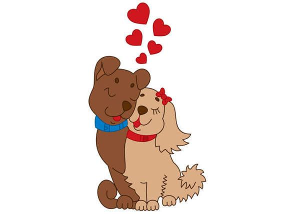 Love Dogs Clipart Digital Vector Dogs Love Couples Heart
